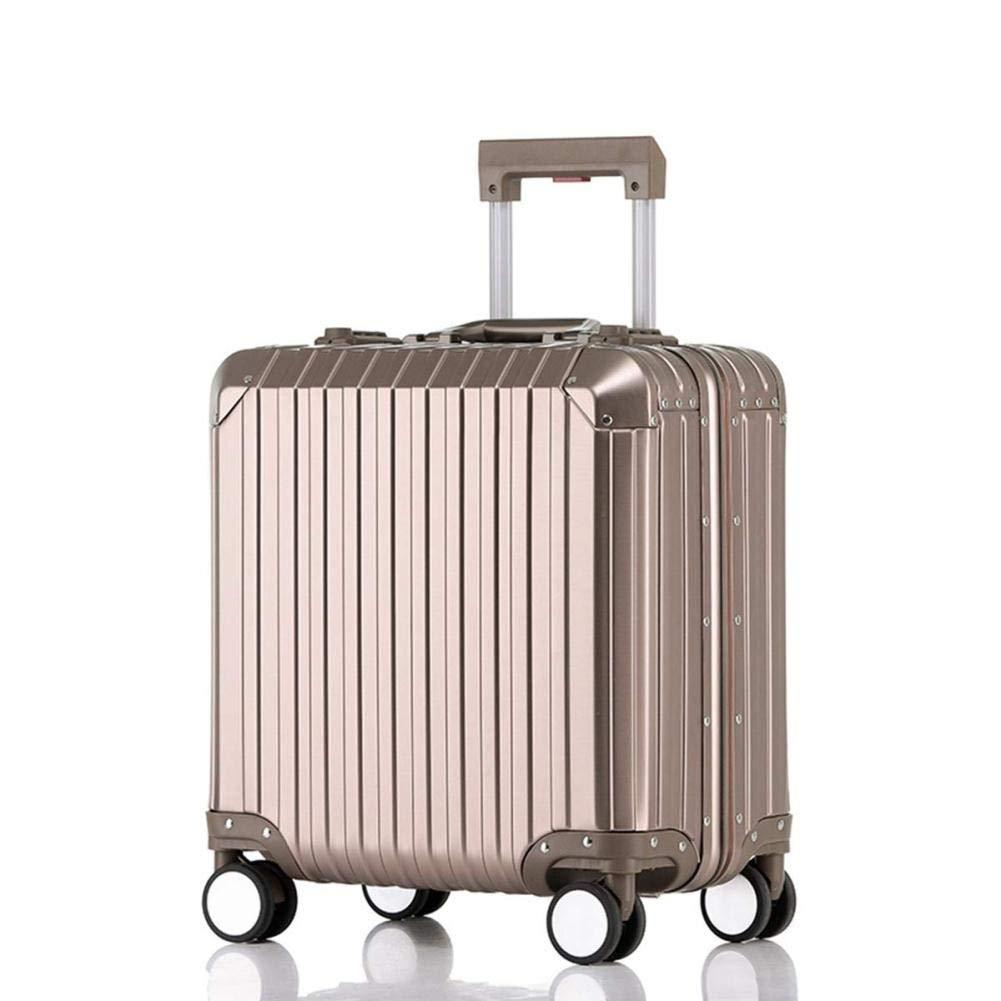 持ち運び可能な荷物360°スピナーホイールハードシェル軽量スーツケース付きパスワードロック付き耐久性トロリーケース搭乗用男性および女性用 (色 : Titanium gold, サイズ さいず : 18'') 18'' Titanium gold B07R526FFZ
