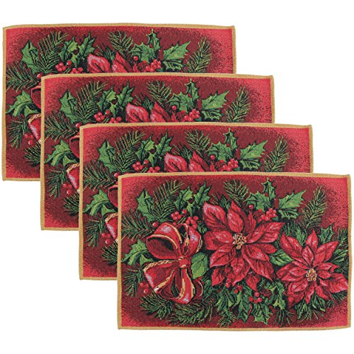 Decorative Christmas Poinsettias Tapestry 13 X 19 Set Of 4 Placemats