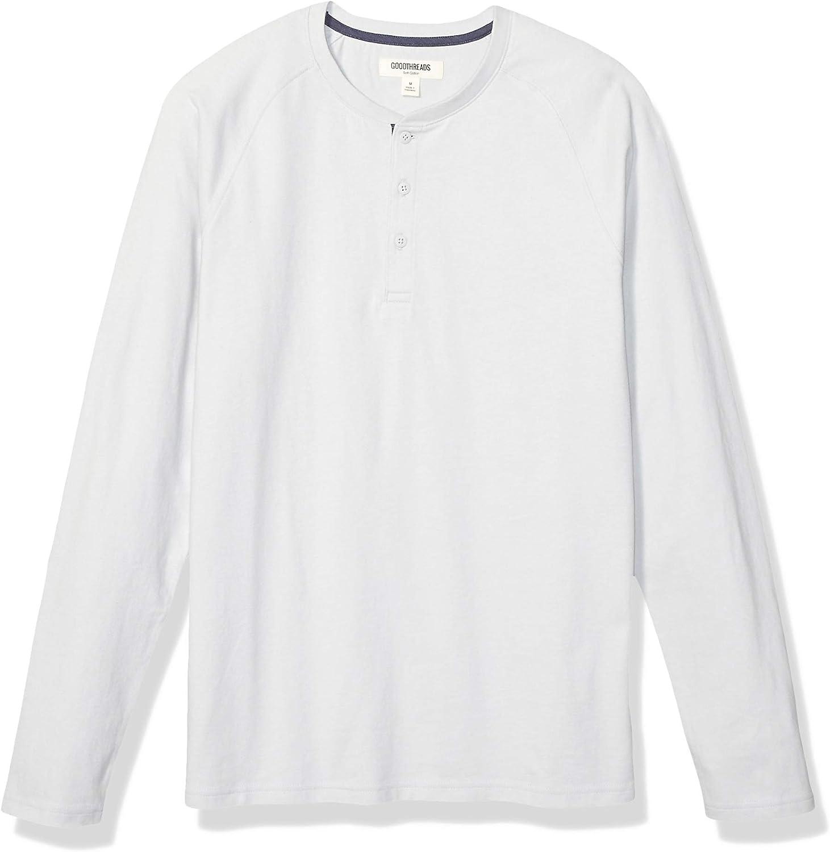 a maniche lunghe effetto scamosciato maglia Henley in jersey da uomo Goodthreads Marchio
