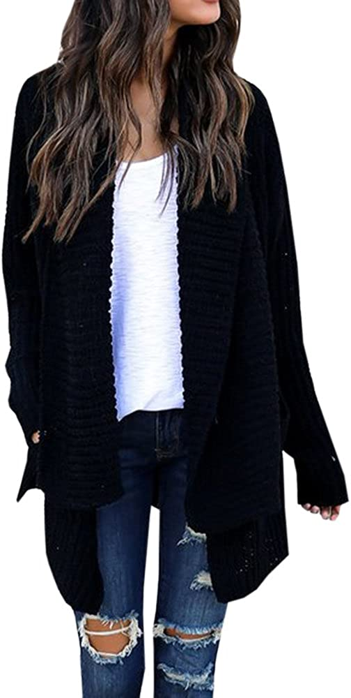 Imily Bela Women's Oversized Long Sleeve Shawl Collared Open Front Sweater Chunky Cardigan