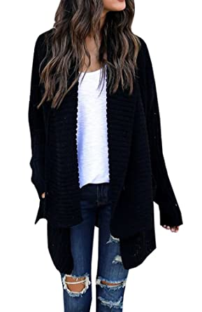 d88001cdee4e9 FISACE Women s Loose Fit Long Sleeve Knitted Cardigan Sweaters Outerwear  with Pocket