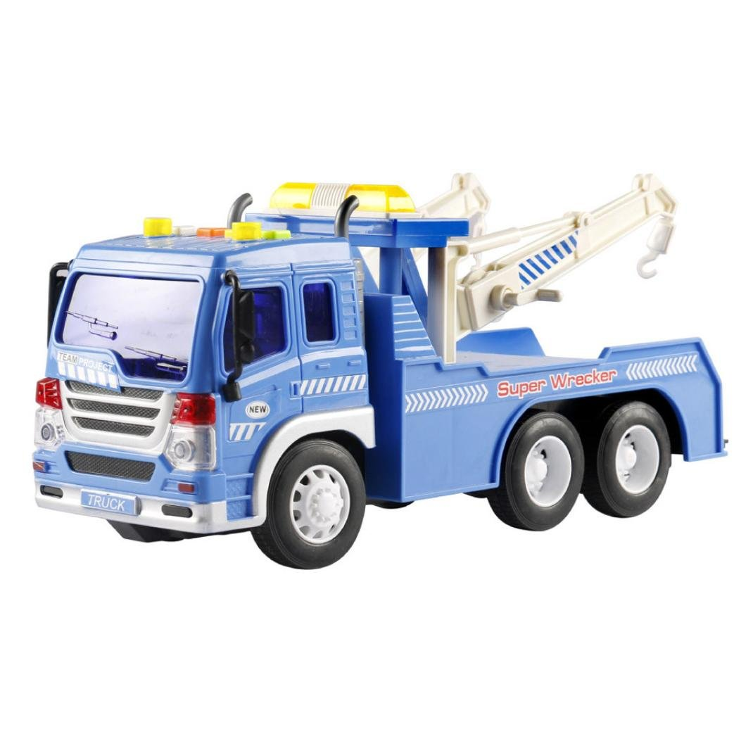 Dacawin Kids Car Toy Friction Powered Wrecker Tow 1941 Dodge Truck 116 Towing Vehicle Lights And Sounds Blue Toys Games