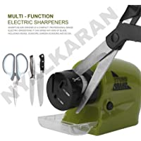 NYALKARAN Sharp Cordless Motorised Electrical Kitchen Knife Sharpener Choppingboard, Can Also Use for Scissor and Screwdriver (Green)