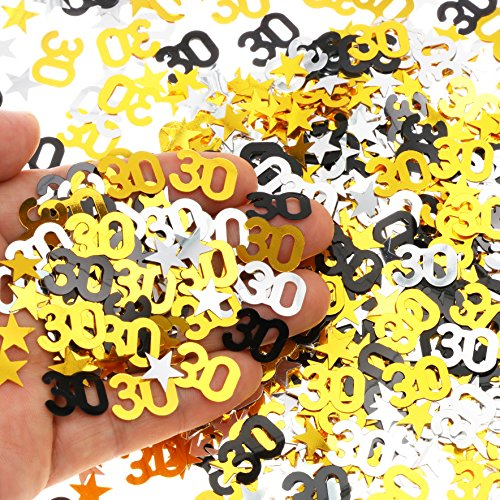 30th Birthday and wedding Anniversary Party Table Confetti decorations - 2400 Pieces, Gold Silver Black 30 Number and Little Star Metallic Foil Confetti for 30th Anniversary theme party Silver Stars Invitation