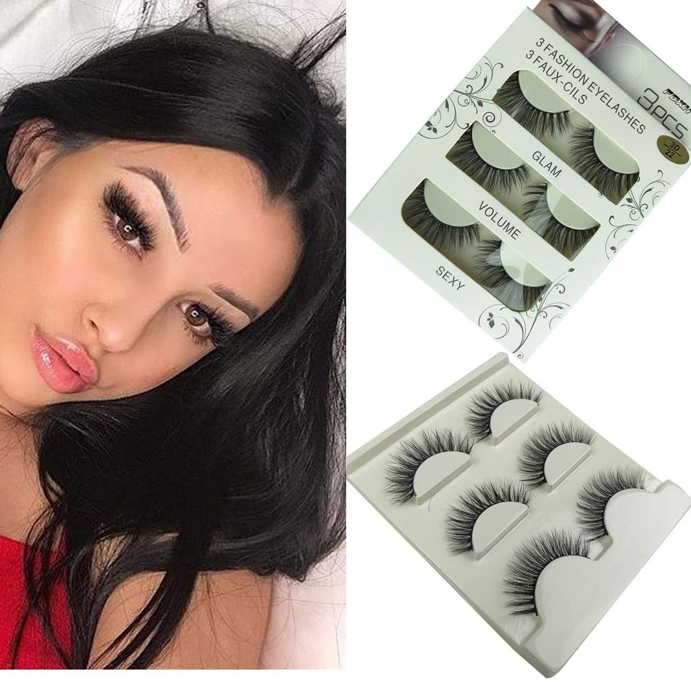 6b8c0c42441 ... Imported Fiber 3D Mink False Eyelashes Handmade Reusable Long Cross  Makeup Natural 3D Fur Fake Eye Lashes Thick Natural Black 3 Pairsd(3D-22) :  Beauty