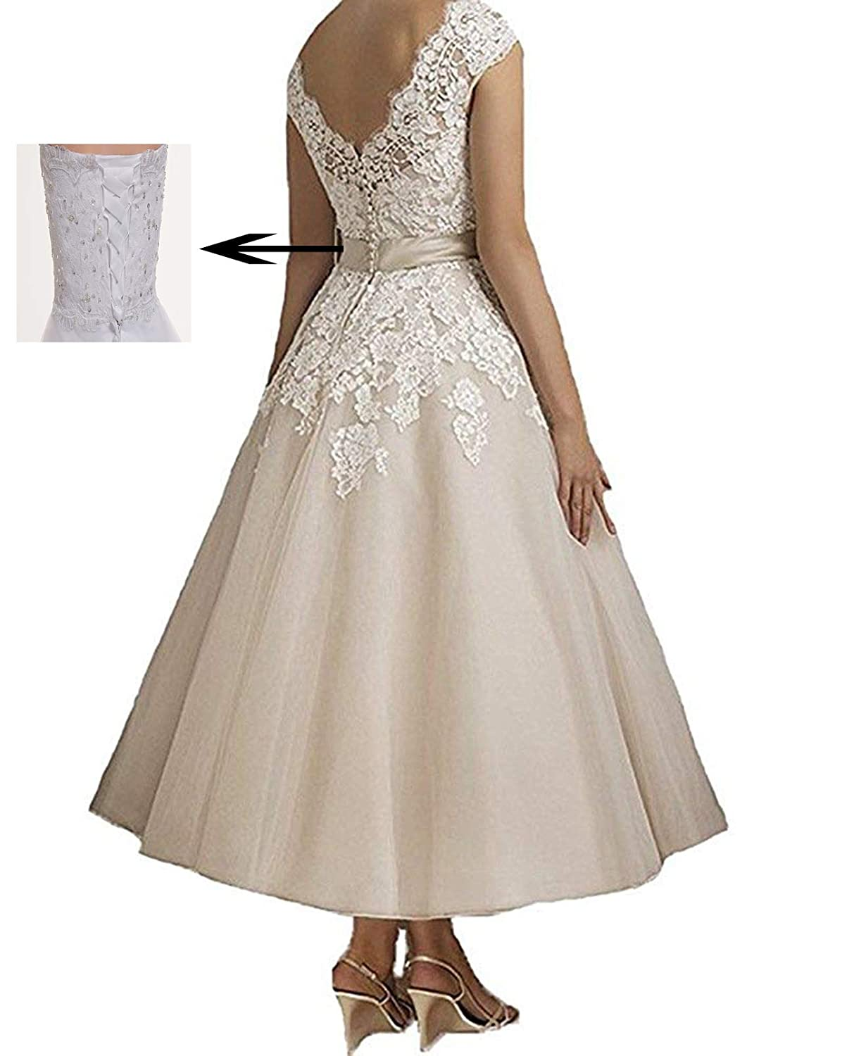 641d457e4c6 Jdress Women s Vintage Short Tea Length Lace Wedding Dresses for Bride 2019