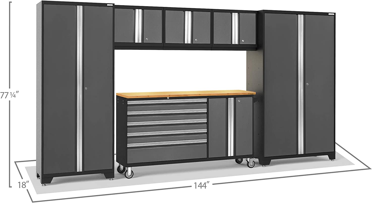 Garage Cabinets NewAge Products Bold 3.0 Gray 6 Piece Set 50486