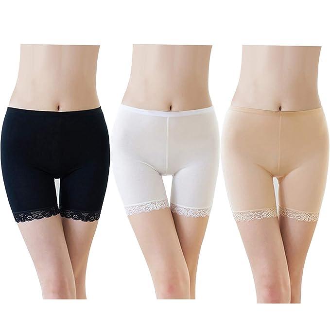 78c02d720ed5 FEPITO 3 Pares de Mujeres Debajo de la Falda Pantalones Cortos Pantalones  de Seguridad Suave Encaje Encaje Ajuste Leggings Pantalones Cortos de Yoga  ...