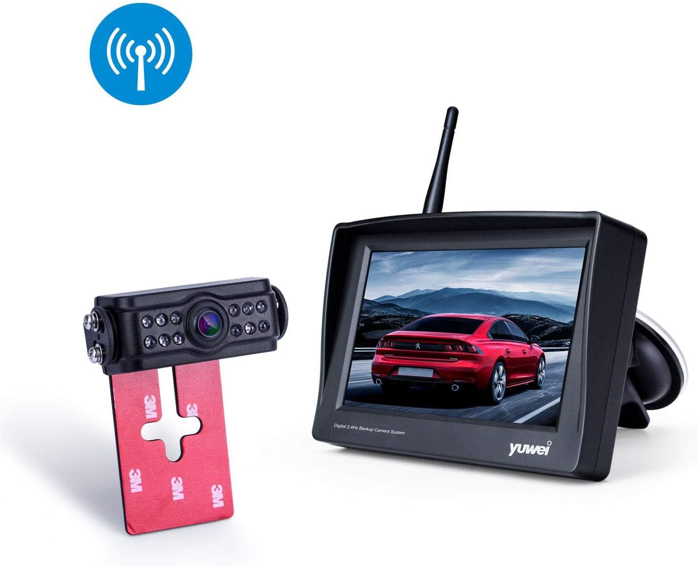 Minivans Pickups Camper Vans Cargo Vans,etc Sedans Yuwei Digital Wireless Backup Camera System with 4.3/'/' Wireless Reversing Monitor SUVs Stable Wireless Signal /& No Interference for Cars