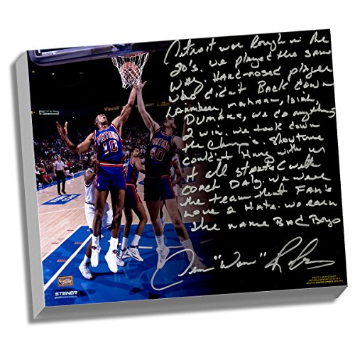 Detroit Pistons Dennis Rodman Facsimile The Bad Boys Story Stretched 16x20 Canvas by Steiner Sports
