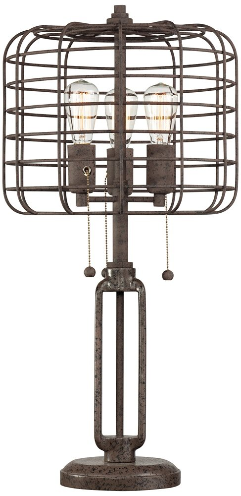 Industrial Cage Edison Bulb Rust Metal Table Lamp by Franklin Iron Works