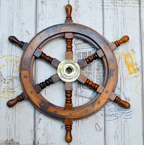 Antique Brass Sailboat - Ship Wheel Pirate Captains Nautical Sailboat Steering W/Brass Hub Wall Decor 18
