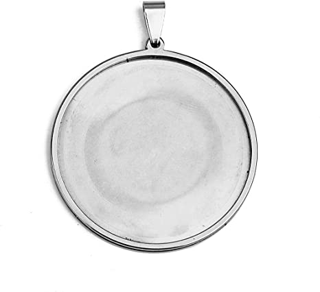30mm SHUNAE 10pcs stainess Steel 304 cabochon Base Setting 20mm 25mm 30mm Round Cameo Pendant Trays DIY Jewelry Blank Bezel for Necklace Making