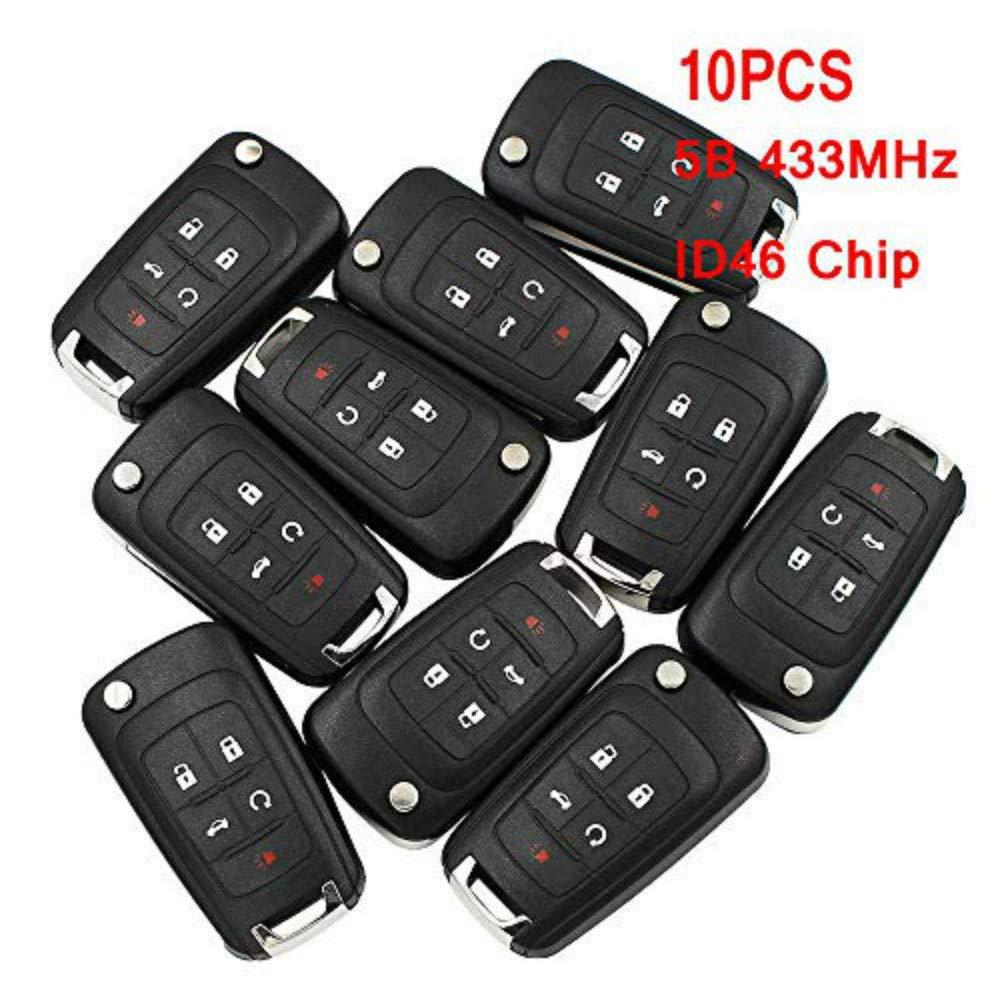 HERCHR, Remote Key, 433MHz 10PCS X 5B Remote Control Key Fob with ID46 Chip for Chevrolet 2010-2014 Cruze