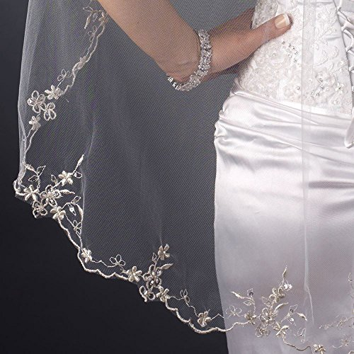 Beth Single Layer Scalloped Floral Embroidered Edge with Bugle Beads & Sequins Wedding Bridal Veil - Ivory by Fairytale Bridal Tiara (Image #1)