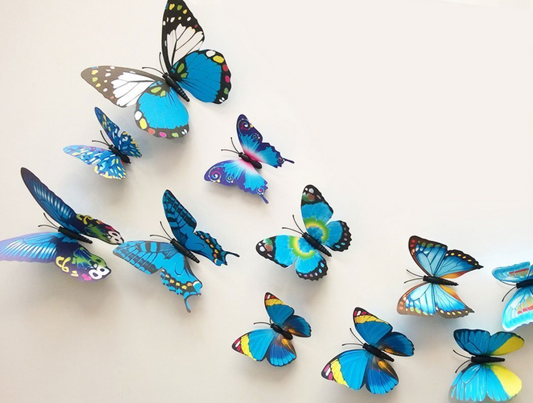 Amazon.com: Raylinedo 3D Butterfly 12PCS for Blue and 12 PCS For ... for Butterfly Wall Decor Pattern  76uhy