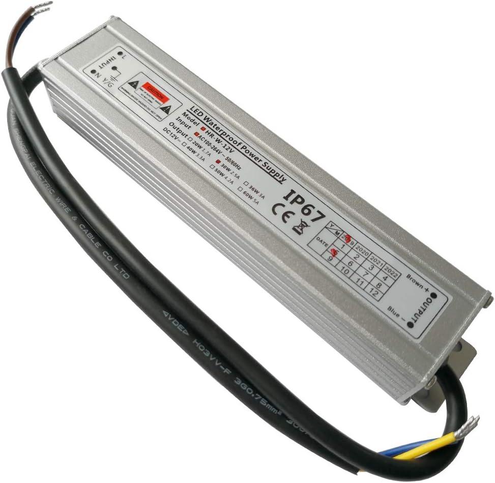 YAYZA! 1-Paquete Controlador de LED Compacto Ultra-Fino A Prueba de Agua IP67 12V 2.5A 30W de Bajo Voltaje Módulo Transformador Universal Adaptador Suministro Eléctrico AC DC Exteriores