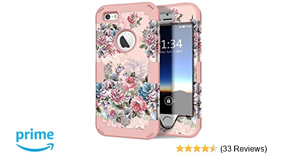 timeless design 629f8 79cbc iPhone 5s Case, iPhone SE Case, Hocase Heavy Duty Shockproof Protection  Hard Plastic+Silicone Rubber Bumper Dual Layer Full-Body Protective Phone  Case ...