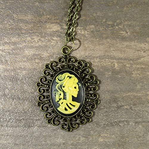 Neo-Victorian Gothic Lolita Cameo Necklace Steam-Punk Skeleton Bronze Halloween GH-810 -