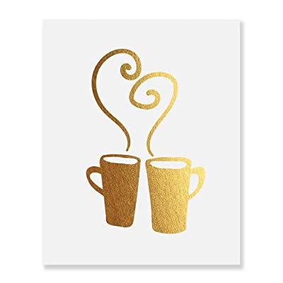 Hot Mugs Gold Foil Decor Wall Art Print Christmas Cafe Kitchen Art Metallic Poster 5 inches x 7 inches C26