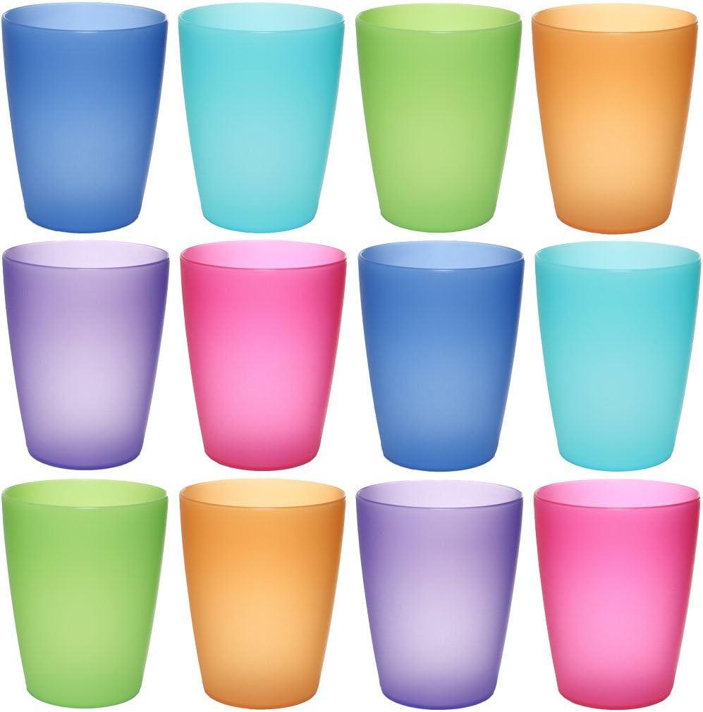 idea-station Neo Vasos plástico 12 Piezas, 250 ml, Colorido, Reutilizable, inastillable, Duro, vajilla, Tazas, Copas, Vaso, niños, Infantiles, de Agua, cóctel, Fiesta
