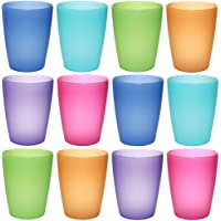 idea-station NEO plastic cups 250 ml reusable , 12 pieces, colorful, stackable, can also be used as water glasses, cocktail glasses, as party mug, plastic cup are unbreakable, Farbe:12 St. / bunt