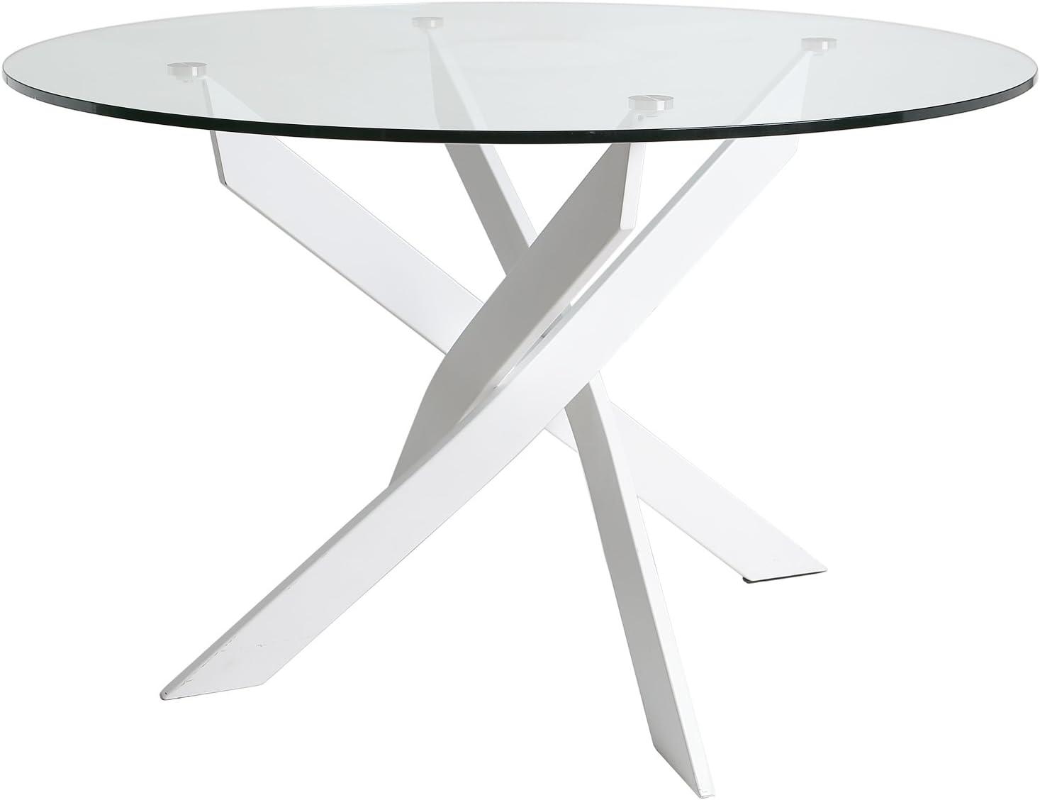 Mesa redonda Petra 120 cm color Blanco, patas metálicas, cristal ...