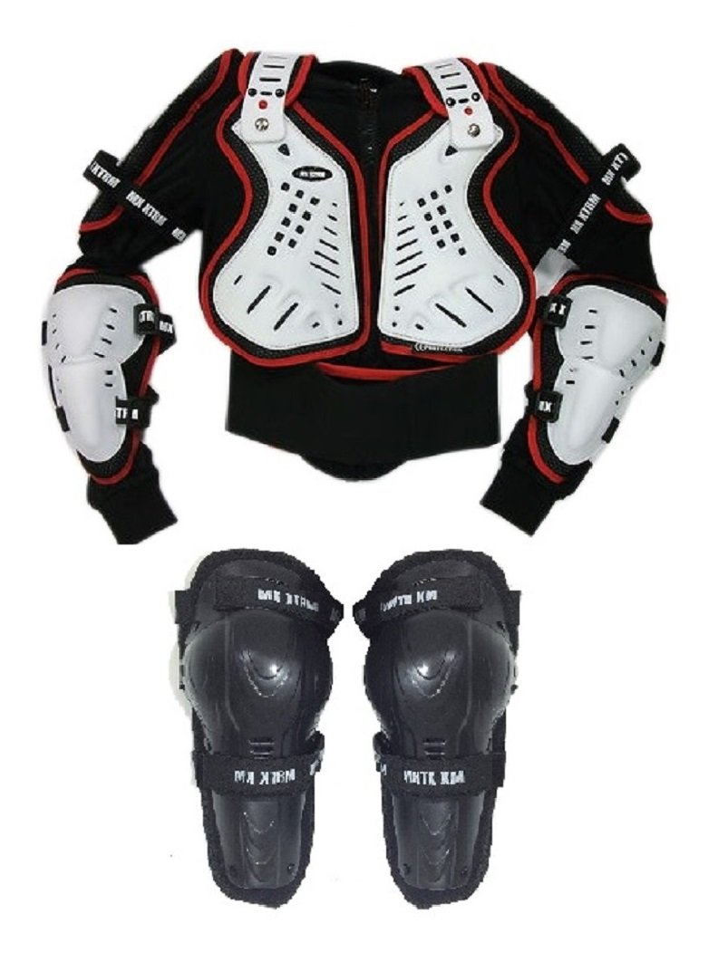 XTRM Kids Off Road Motorcycle Motorbike Body Armour Jacker Red (CE Approved) + Hinged Knee MOTOHART