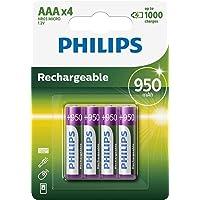 Philips R03B4A95/10 oplaadbare batterij AAA (950mAh, 1,2V, blisterverpakking met 4)