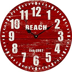 Yung Jo 10 Modern Style White Arabic Numerals Design Wooden Round Decorative Wall Clock ,Red Color (Red Reach)