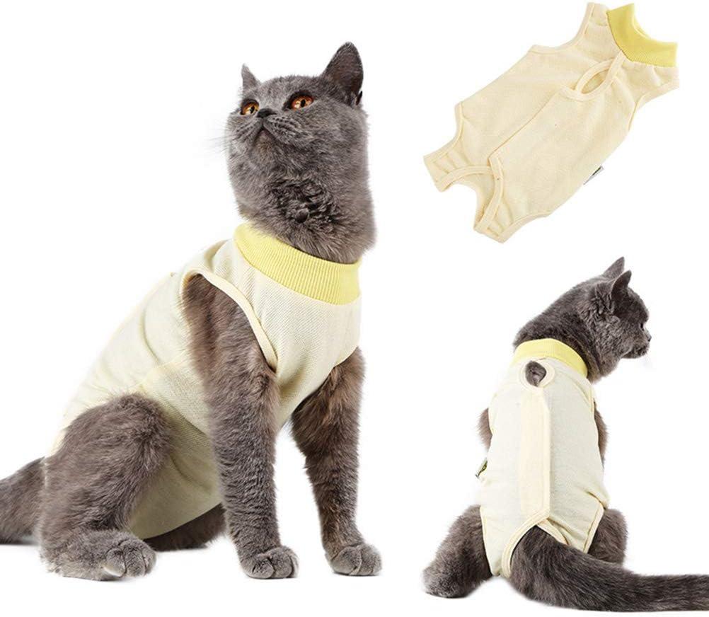 Pulizia della Pelle Prevenzione Leccata Svezzamento e Mantenimento in Caldo per Gatti Animali Domestici Dopo luso Chirurgico UKCOCO Tuta da Recupero per Gatti Giallo Scuro o Chiaro Taglia S