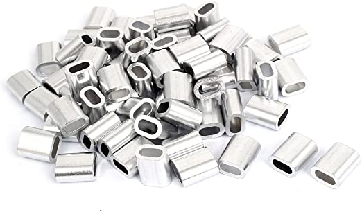 Uxcell a15121800ux0275 10mm 3//8 Steel Wire Rope Aluminum Ferrules Sleeves Silver Tone 10pcs