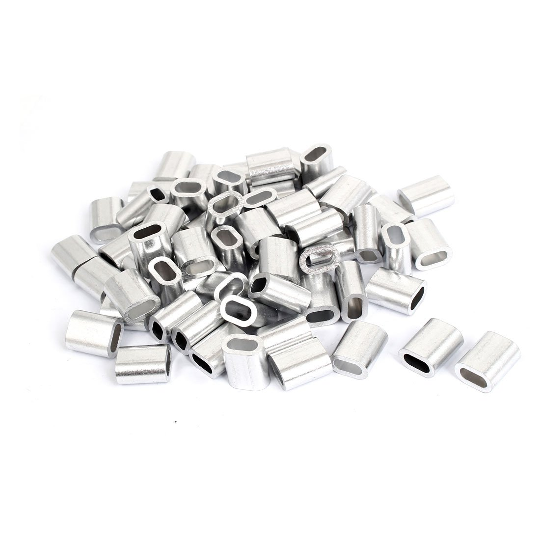 uxcell M5 5mm Steel Wire Rope Aluminum Ferrules Sleeves Silver Tone 80 Pcs