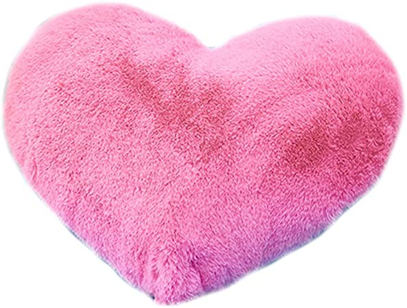 Pink Fluffy Heart Plush Pillow with
