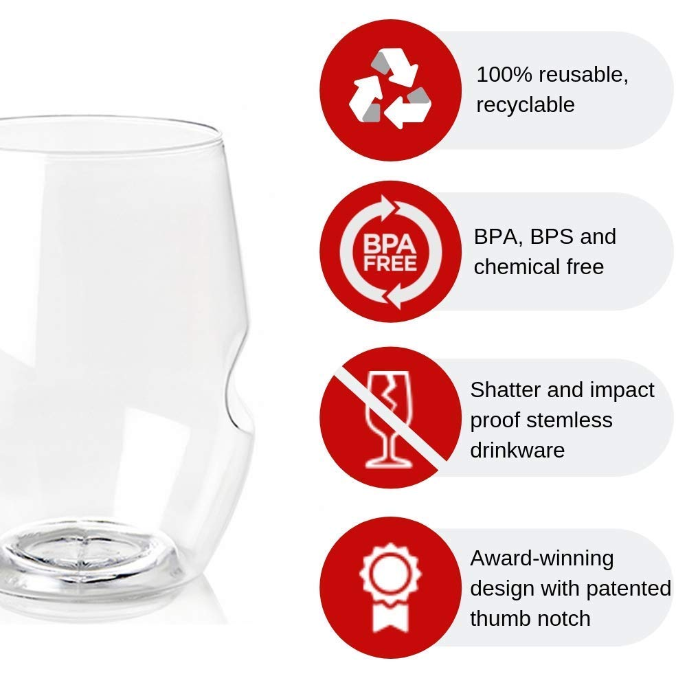 Amazon.com: Govino Vasos de vino reciclables, irrompibles ...