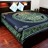 India Arts Cotton Celtic Circular Knot Print Tapestry Bedspread- Queen