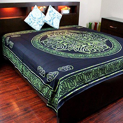 (Handmade Cotton Celtic Circle Wheel of Life Tapestry Bedspread King Green Black)