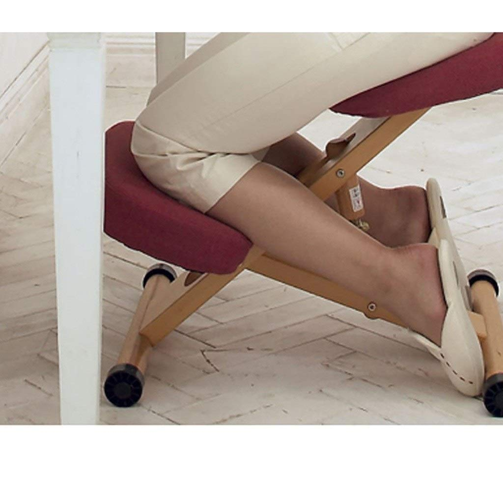 GZLL Ergonomisk knästol, trästol lyft, höjd och vinkel justerbar meditationspall, gunga knästol med ortopediska mjuka knäkuddar (färg: Rosa) Röd