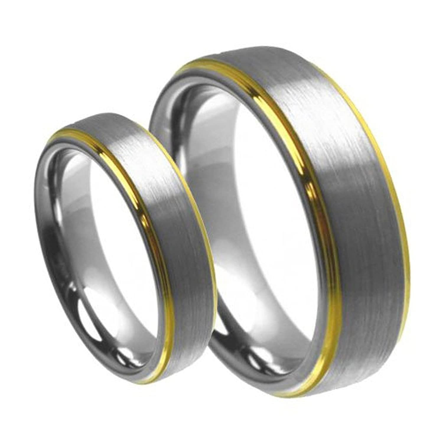 (2) Set Men & Women's 8mm/6mm Brushed Center with Gold Step Edge Tungsten Carbide Wedding Band Ring Set