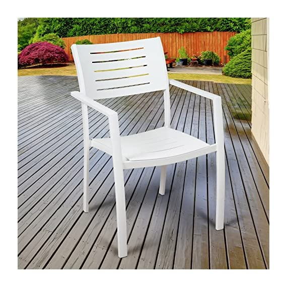 Brampton 9 Piece Outdoor Eucalyptus Extendable Dining Set | Perfect for Patio | with Teak Finish, White - Perfect outdoors: 9 Piece patio Dining furniture set, ideal for patios, backyards, gardens, balconies, Poolside and more. Dimensions: Table Dimensions 79L x 42W x 30H Extended Length 118. Chair Dimensions 24L x 23W x 35H Seating Dimensions 17L x 17W x 17H. Table Material: 100% FSC certified High Quality Eucalyptus Wood (Eucalyptus Grandis) with teak finish. Chairs Material: Aluminum. Its resistance to weather and UV radiation makes the set durable and enjoyable. - patio-furniture, dining-sets-patio-funiture, patio - 61gKB5qLxqL. SS570  -