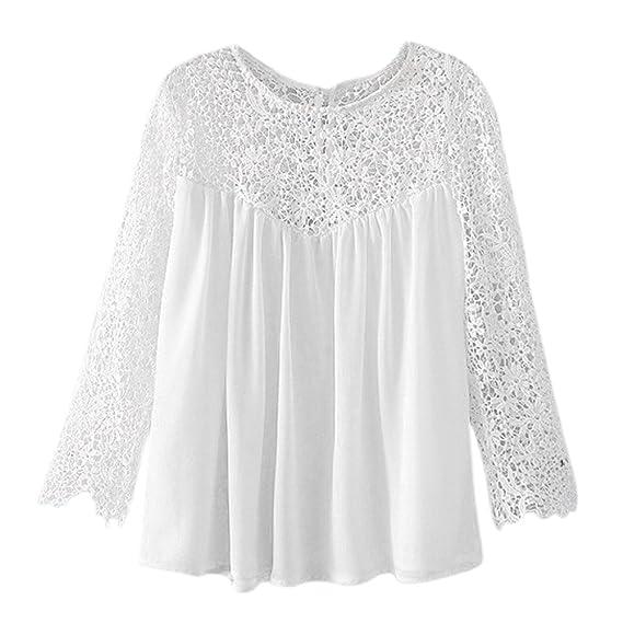 SODIAL Camisa blusa de chiffon de ganchillo de encaje de mujer Ropa de mujer sexy de