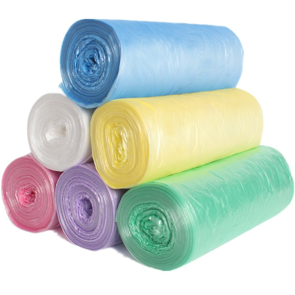 Garbage Bag - Colorful 4 Gallons Trash Bag Thin Material Small Size Bathroom Trash Can Liners for Office, Home Waste Bin, 120 Counts 6 Color (6 Color)