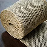 BalsaCircle 5-Inch x 10 Yards Natural Brown Burlap Fabric Ribbon by The Roll - Wedding Party Favors Decorations DIY Crafts Sewing