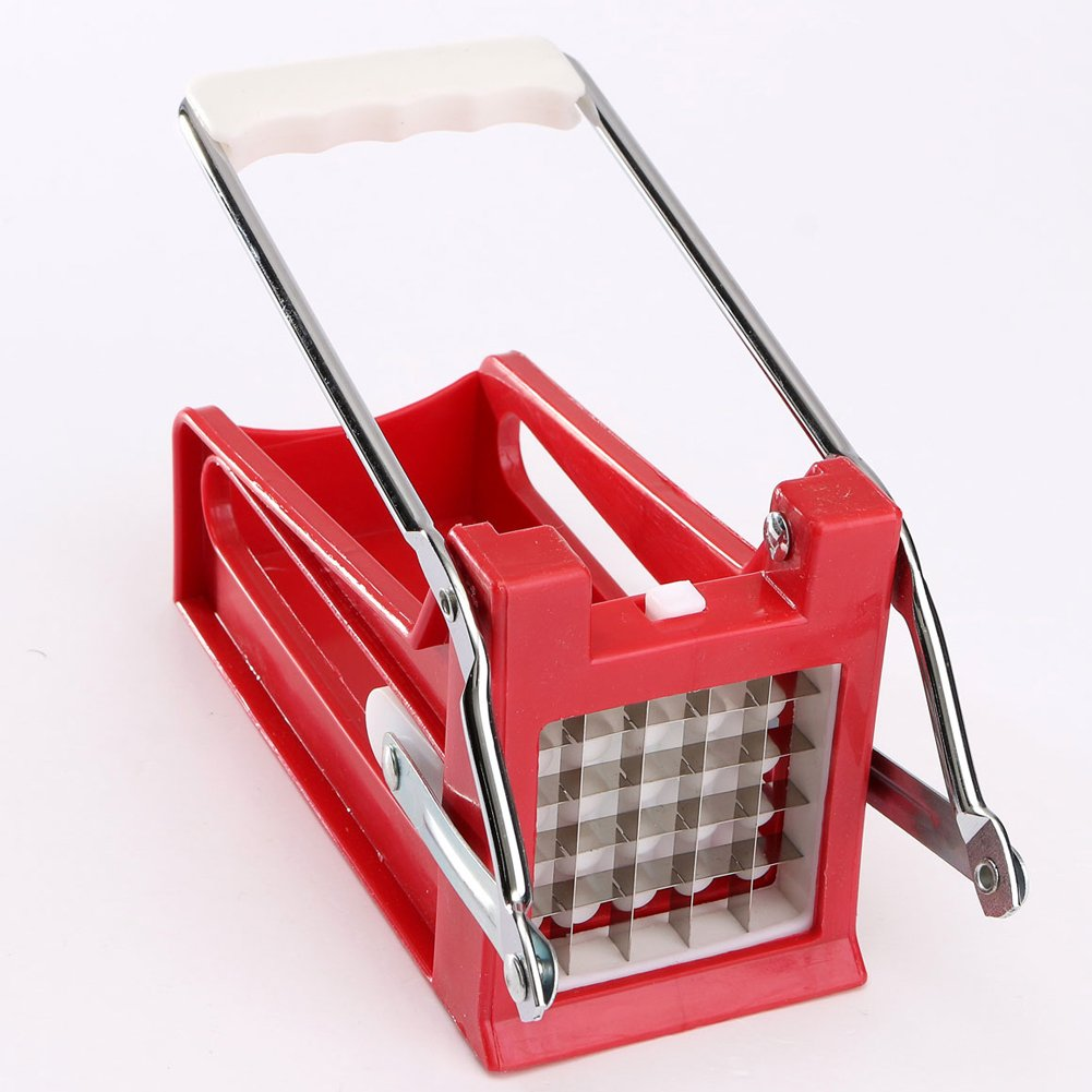 Stainless Steel Potato Chipper French Fries Slicer Chip Cutter Maker Chopper 2 Blades Vegetable Slicer Tools(red)