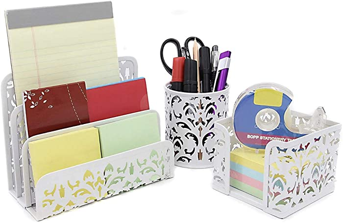 3 in 1 Desk Accessories Pencil Holder Letter Sorter and Sticky Note Holder (White)