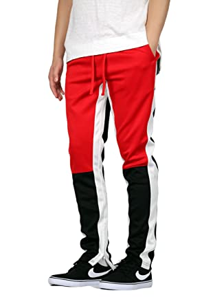 ac8ee6ce3 Mersenne Men's Skinny Fit Retro Track Pants with Stripe (S, Red Blk White)