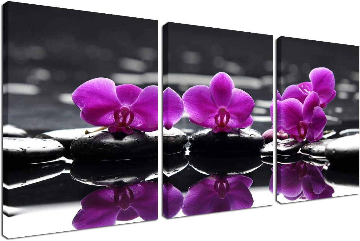 Flower Painting Wall Art Canvas - Modern Picture Frame Purple Orchid Black Stone Floral Wall Decorations for Living Room Home Kitchen Bedroom Farmhouse Decor Spa Poster Zen Print 3 Panel Set 12''x16''