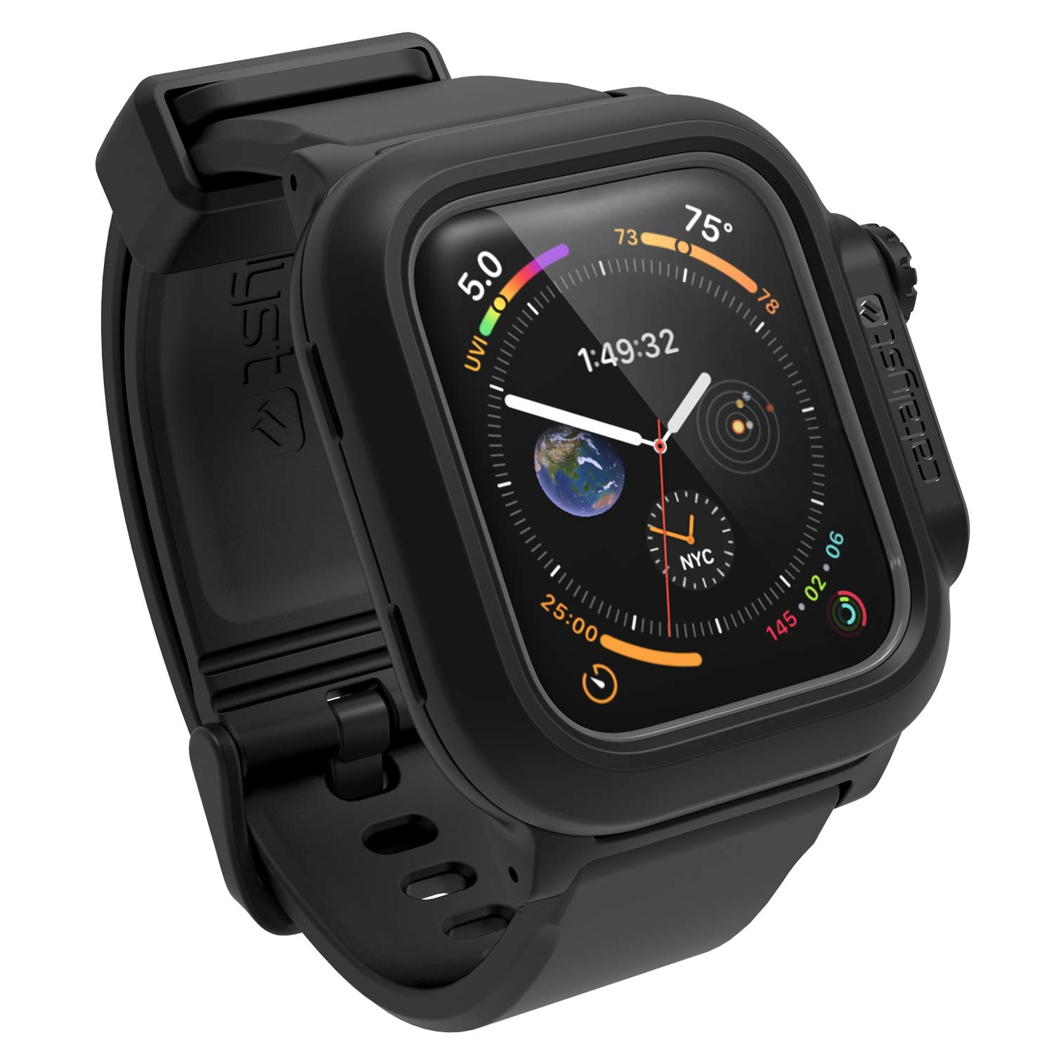 Catalyst Waterproof for Apple Watch Case Series 4 44mm with Premium Soft Silicone Apple Watch Band, Shock Proof Impact Resistant [Rugged iWatch Protective case] 330ft 100% Waterproof- Stealth Black by Catalyst (Image #1)