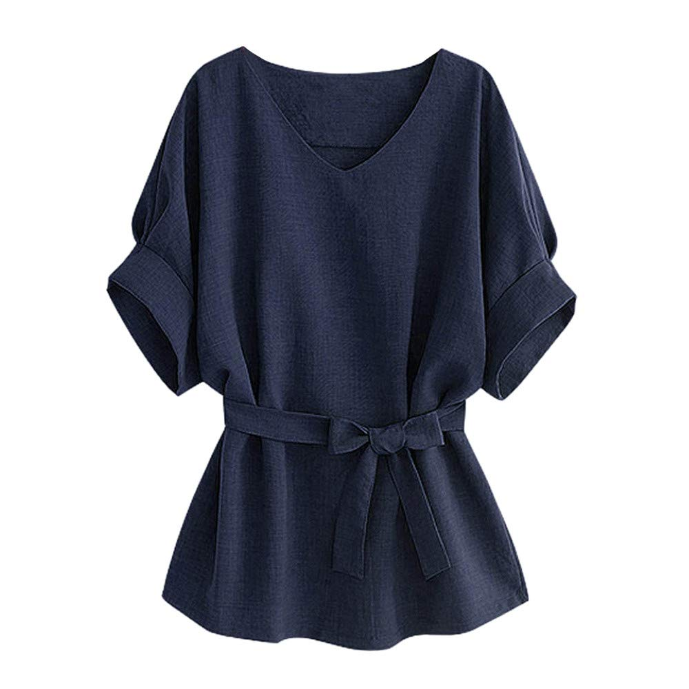 MALLOOM Summer Women's V Neckline Self Tie Short Sleeve Blouse Tees Tops Solid Color Loose T-Shirt Navy