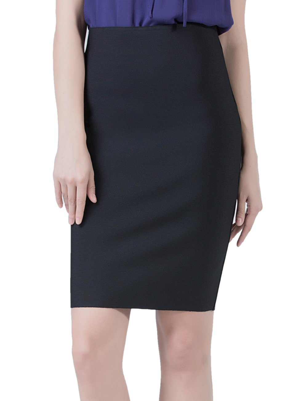 PERHAPS U Pencil Skirts Women's Stretchy High Waist Midi Bodycon Office Skirt(L, Black)